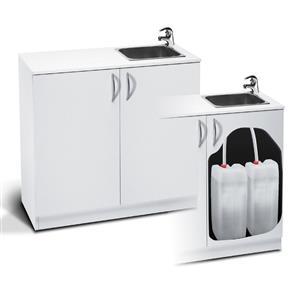 Lavandino portatile con mobiletto e rotelle.